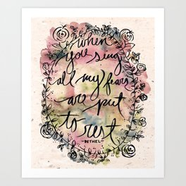 FEAR | Bethel Worship Lyric Print - Watercolor Hand Lettered Script Floral Weath Print  Art Print