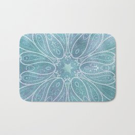 floral paisley star in light teal Bath Mat