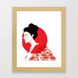 Geisha Girl In White Framed Art Print