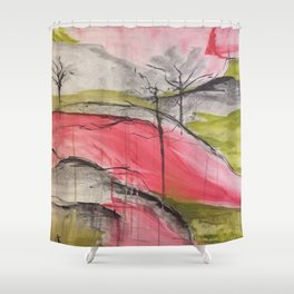 Pink Landscape. Color of Japan. Original Painting by Jodi Tomer. Abstract Artwork. Shower Curtain