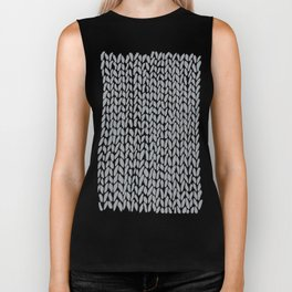 Hand Knit Light Grey Biker Tank