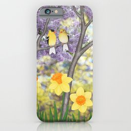 goldfinches, lilacs, & daffodils iPhone Case