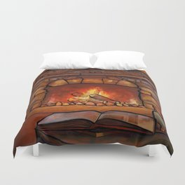 Fireplace (Winter Warming Image) Duvet Cover