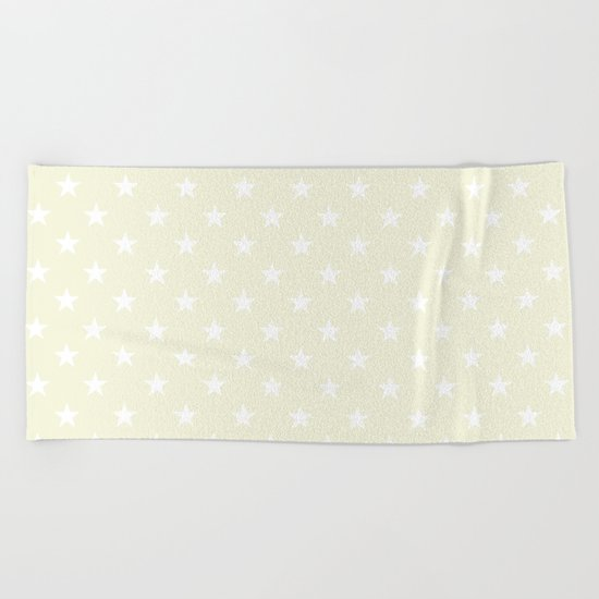 Stars (White/Beige) Beach Towel