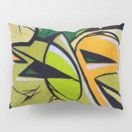 Green and orange graffiti, modern art Pillow Sham