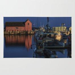 Moonlit Rockport Harbor Rug