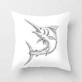 Atlantic Blue Marlin Doodle Throw Pillow