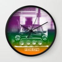 mini cooper Wall Clocks featuring Mini by Matt Wade