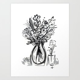 Tables Flowers in Black and White Art Print