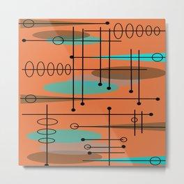 Atomic Era Inspired Dark Orange Metal Print