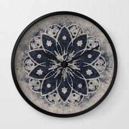 MANDALA BLUE BOHEMIAN GEOMETRIC ABSTRACT Wall Clock