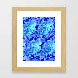 blue sea turtles Framed Art Print