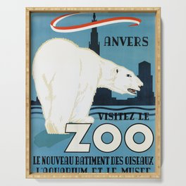 Vintage Belgium Travel Poster - Polar Bear Serving Tray
