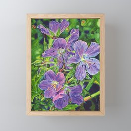 Six Wild Geraniums Framed Mini Art Print