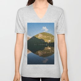Mountain landscape reflected in the waters of Lake Braies Unisex V-Neck