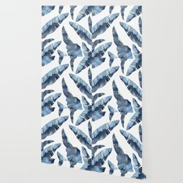 Banana Leaves 2 Blue Wallpaper