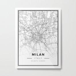 Milan Modern Map Metal Print