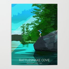 Jumping Rock on Squam Lake Poster