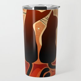 couple of cats in love on a house roof Travel Mug