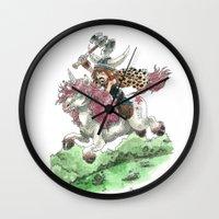 bouletcorp Wall Clocks featuring Barbarian Unicorn by Bouletcorp