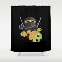ninja turtle Shower Curtains featuring Ninja Turtles by Adamzworld