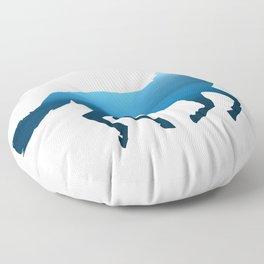 Horse - Running - Blue Floor Pillow