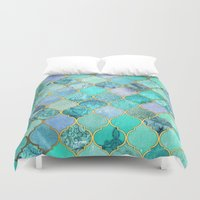 decorative Duvet Covers featuring Cool Jade & Icy Mint Decorative Moroccan Tile Pattern by micklyn