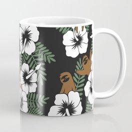 Sloth and Hibiscus Flowers Coffee Mug