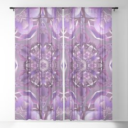 Truth Mandala in Purple, Pink and White Sheer Curtain