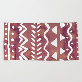 Loose boho chic pattern - purple brown Beach Towel