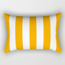 Vivid orange peel yellow - solid color - white vertical lines pattern Rectangular Pillow