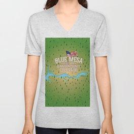 Blue Mesa Reservoir map travel poster. Unisex V-Neck