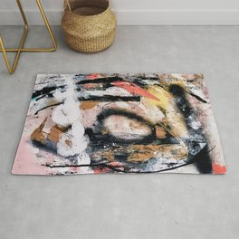 Lightning Soul: a vibrant colorful abstract acrylic, ink, and spray paint in gold, black, pink Rug