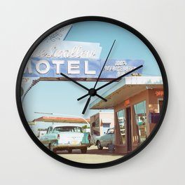 Blue Swallow Motel Route 66 Photography Print Wall Clock