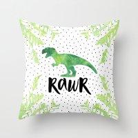 trex Throw Pillows featuring Rawr by Elisabeth Fredriksson