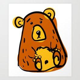 Scribble grumpy bear svg. Doodle clipar Art Print