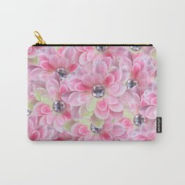 Shocking Pink Flora Gems Carry-All Pouch