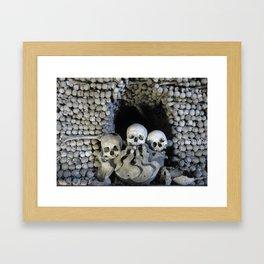 Ossuary (Bones and Skulls in the Cemetery Church of All Saints) Framed Art Print