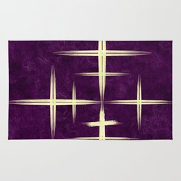 Gold CrisCross HopScotch on Purple Texture Canvas Paper Rug