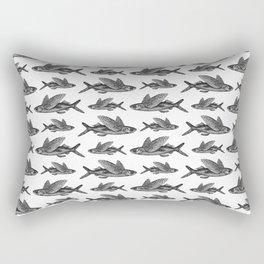 Flying Fish Pattern | Vintage Flying Fish Pattern | Black and White | Rectangular Pillow