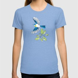Flying Birds and Oak Leaves on Yellow T-shirt
