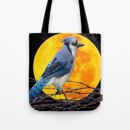 BLUE JAY & GOLDEN MOON LIGHT ABSTRACT Tote Bag