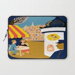 Vintage France Sidewalk Cafe Travel Laptop Sleeve