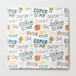 Pattern for basketball. Super star. Metal Print