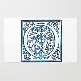 Letter O Antique Floral Letterpress Rug
