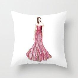 Fashion illustration raspberry dress Throw Pillow