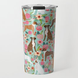 Boxer floral dog breed gifts for boxer lovers pet florals boxers must haves Travel Mug