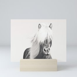 BW Horse, Horse Art, Black and White, Nordic Horse, Horse Print, Boho Decor, Horse Photo Mini Art Print