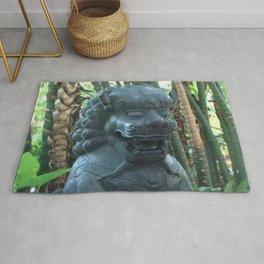 Lion Statue in the Tropics Photography Rug