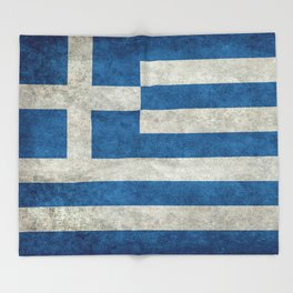 Greek flag in retro grunge Throw Blanket